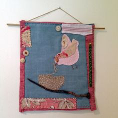 """Textile art collage - """"Nesting"""" - a bird building a nest - hanging piece by judithadesigns09 on Etsy"""