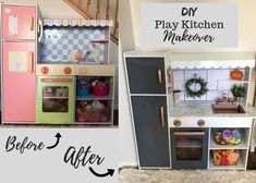 I love a good DIY project! There is something about them that is so rewarding, especially when they can be done on a budget. My husband and I have done so many projects over the years, and somehow, continue to. Boys Play Kitchen, Diy Kids Kitchen, Toddler Kitchen, Play Kitchens, Kidcraft Kitchen, Teen Bedroom Designs, Girls Bedroom, Small Kitchen Organization, Kids Furniture