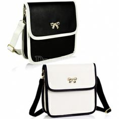 $ 4.69 Korea Lovely Women's Bowknot College Wind Synthetic Leather Cross-body Shoulder Bag