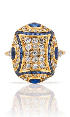Rosamaria G Frangini | High Antique Jewellery | Gold, Diamond and Sapphire Ring, by Georges Fouquet, France, with French assay mark, circa 1910.
