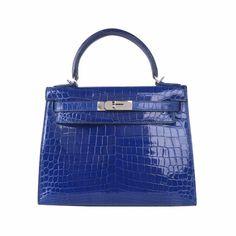 Hermes Kelly 28 Bag in Electro-optic blue with Silver buckle and eShiny (Lisse) Alligator Popular Purses, Hermes Kelly, Meet, Luxury, Silver, Bags, Smooth, Handbags, Hermes Kelly Bag