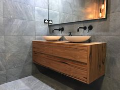 Double floating timber vanity made from solid Messmate timber Floating Vanity, Floating Shelves, Double Vanity Tops, Timber Vanity, Vanity Shelves, Hardwood Furniture, Bathroom Layout, Bathrooms, Future House