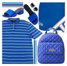 """Blue Stripes"" by oliverab ❤ liked on Polyvore featuring Nautica, Love Moschino, Alexander Wang, Dolce&Gabbana, contemporary, vintage, Blue, stripes and clarendonco"