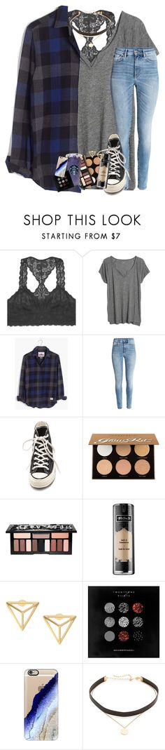 """watching the best show ever..."" by lindsaygreys ❤ liked on Polyvore featuring Youmita, Madewell, Converse, Anastasia Beverly Hills, Kat Von D, Baker & Taylor, Casetify and Jennifer Zeuner"