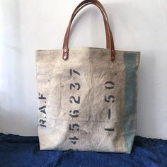 40's or 50's UK RAF vintage canvas remake tote bag.  IND_BNP_0343 W 44cm H 37cm D12cm Handle 47cm