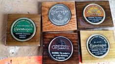 Handcrafted snuff can lid coasters