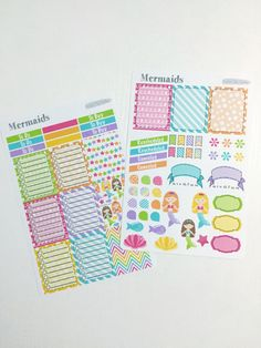 Available at CraftedByCorley on Etsy: Mermaids Weekly Planner Kit - Erin Condren Vertical and Horizontal Life Planners and More