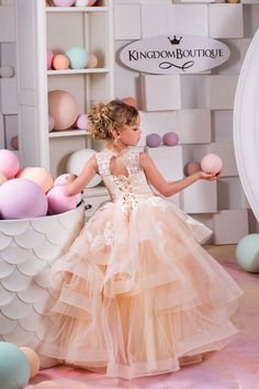 Beige Lace Tulle Flower Girl Dress Birthday от KingdomBoutiqueUA