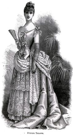 Victorian Ball Gown Drawing (ca. 1880s Fashion, Victorian Fashion, Vintage Fashion, Fashion Fashion, Historical Costume, Historical Clothing, Gown Drawing, Charlotte Dress, Victorian Valentines