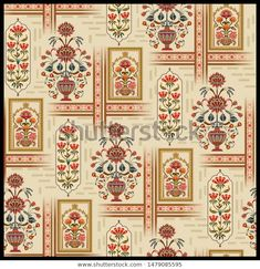 Find Mughal Flower Motif Pattern Design Background stock images in HD and millions of other royalty-free stock photos, illustrations and vectors in the Shutterstock collection. Flower Motif, Flower Patterns, Flower Art, Print Patterns, Arabesque, Fresco, Arabic Pattern, Floral Tattoo Design, Indian Art Paintings