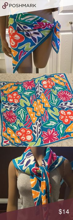 """Scarf Very bright colorful 34""""square scarf. Can be worn multiple ways! Super cute as a sarong! Esprit Accessories Scarves & Wraps"""