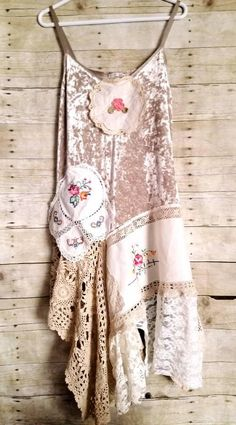Boho rustic with a shabby touch. One of a kind country top will make you feel oh so pretty with its unique beauty. Vintage inspired rustic Velvet tunic. Beige velvety bodice. Cotton linen lace draped fabrics in ivory, beige. Embroidered flowers, crochet, and cutwork. Doily trims.
