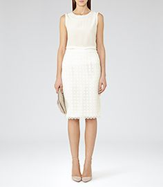 Womens Off White Lace Pencil Skirt - Reiss Denise