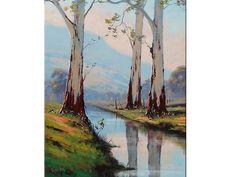 árboles de eucalipto árboles originales de la pintura al óleo