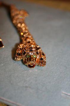 Vintage Rhinestone leopard Bracelet in goldtone costume by GENICE, $50.00