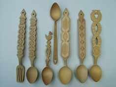 The Perfect Spoon - Romanian carved wood objects on display in art museums and private collections across the world. Zina and Sorin Manesa Burloiu. Spoon Collection, Love Spoons, Coffee Table Plans, Chip Carving, Wooden Spoons, Wood Turning, Textile Art, Art Museum, Ideas
