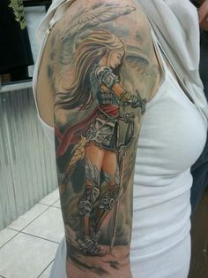 Female Warrior Angel Tattoo Designs