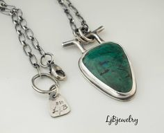 Silver Chrysocolla Pendant, Silver Necklace, Chrysocolla, Metalwork, Metalsmith, Silver Jewelry, Artisan Jewelry, Handmade,  Necklace by LjBjewelry on Etsy