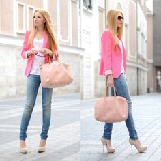 Pink blazer, light nude platforms, and light-wash denim jeans with a pastel pink-ish color tote. PERFECT.    -S