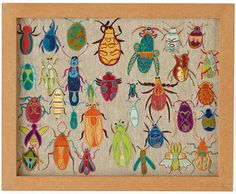 Art for Kids' Rooms: Natural History Framed Embroidered Bugs (via The Land of Nod) maybe make as a cross stitch? Art Wall Kids, Framed Wall Art, Art For Kids, Framed Fabric, Bug Art, Land Of Nod, Insect Art, Bug Insect, Illustration