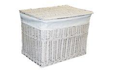 Medium White Wicker Storage Basket Trunk Chest Hamper Lidded With Cloth Linning: Amazon.co.uk: Kitchen & Home