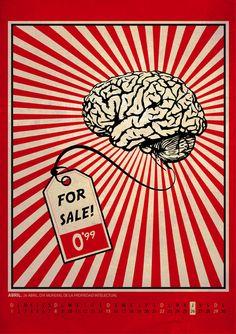 OBEY Tribute-3 #ilustracion #brain #sold #obey Qhd Wallpaper, Crazy Wallpaper, Shepard Fairey Art, Obey Art, Street Art, Food Poster Design, Propaganda Art, Social Art, Art Graphique