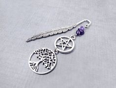 Wiccan Bookmark, Pagan Bookmark, Gift for women, Pentacle Bookmark, yule gift for her, tree of life, Yggdrasil, Wicca, Stocking Stuffer by CervelleDoiseau on Etsy
