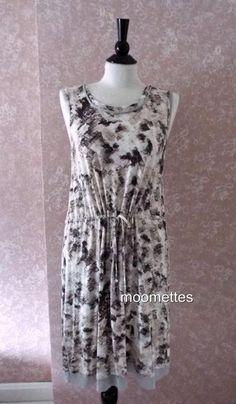 Simply Vera Wang Brown Geometric Sleeveless Dress Overlay Handkerchief Hem L #SimplyVeraWang #Shift #Casual