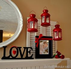 hang lanterns as mantel decor