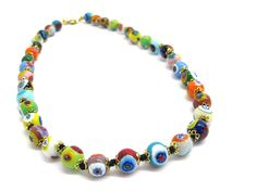 COLPE0101 - Murano Glass Beads Necklace completely handmade with the Lampwork tecnique
