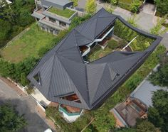 Modern House Architecture With Korean Cultural Identity : Beautiful Modern House In Korean Design From Above 2 Design Cour, House Roof Design, Courtyard Design, Modern Courtyard, Korean Design, Cool Roof, Hip Roof, Roof Structure, Roof Plan