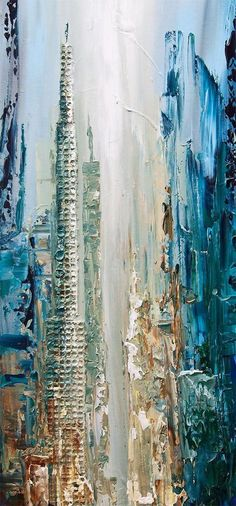 Abstract City Painting - Original Contemporary Modern Art by Osnat. Paintings name: City of Angels Size: 60x30x1.5 Medium: Acrylic on wrapped stretched canvas City of Angels is an abstract contemporary modern painting painted on a staples free sides canvas painted with a palette #abstractart