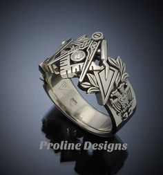 Masonic Ring in Gold with .08ct. Diamond by Proline Designs