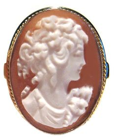 Cameo Ring Romantica, Master Carved, Sterling Silver 18k Yellow Gold Overlay Size 8.5 Italian ** Remarkable product available now. : Jewelry Ring Statement