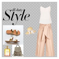 Off-duty by odiwf87 on Polyvore featuring polyvore, Ted Baker, MSGM, rag & bone, Barbour, Estée Lauder, fashion, style, clothing, silktop, leathersandals, greeksandals, CamiTop and culotte
