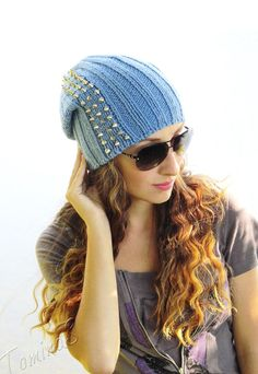 Knit hat with metal spikes  blue knit hat  knit by TominasName I want this!!!!