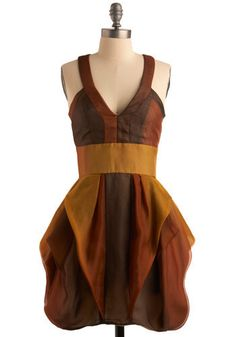 Cara-melting in Your Arms Dress - Brown, Gold, Ruffles, Casual, Empire, Tank top (2 thick straps), Racerback, Mid-length