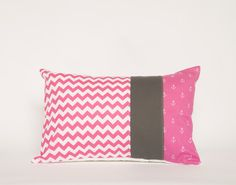 Patchwork Pillow Cover, Modern Decor, Nautical, Lumbar, 12x18 Inches, Grey, Hot Pink and White, Chevron, Anchors, Nursery, Accent