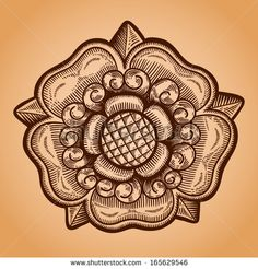 Heraldic rose. Vintage decorative element. Isolated object. - stock vector