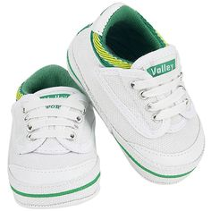 My First Volley Pre Walker Shoes - White, Green + Gold