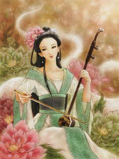 Chinese Woman Playing Erhu in Peony Garden Fantasy Art - Heartstrings - 8x10 Signed Print - by Mitzi Sato-Wiuff.  via Etsy.