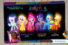 My Little Pony neon Birthday Party Invitations by ekwebdesigns