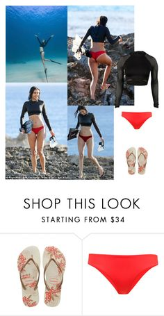 """""""Outfit #853 Nina Dobrev"""" by nmr135 ❤ liked on Polyvore featuring Havaianas, ONIA, beach, NinaDobrev, hawaii and nmr"""