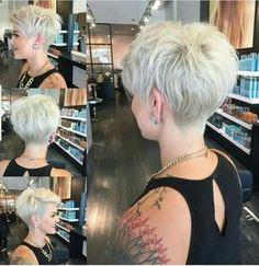 Short pixie platinum blonde hair cut