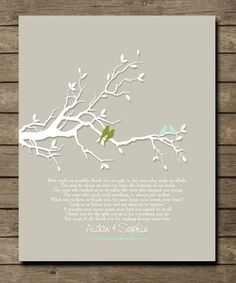 Personalized Wedding Tree with love birds Art Print, Thank you gift  for Parents of bride groom, Anniversary gift for parents, 8 x 10