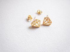 Diamond Shaped Earring / Geometric Stud Earrings / Triangle Stud Earrings on Etsy, $19.00