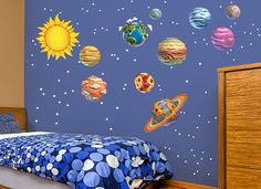Transform any room into outer space with these fun vibrant solar system decals! #wallah #wallahrooms #space #planet #sun #science #scifi #kid #teen #geek
