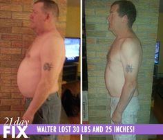 "21 Day Fix before and after - Walter H. was feeling tired, unhappy, and bloated. He decided to try the 21 Day Fix because of the nutrition aspect, and he liked the color-coded containers! Walter has lost 30 pounds, 25.5 inches and has a much healthier lifestyle! He said, ""This is a lifestyle change. Habits can be changed permanently, I feel like I can do this forever."" http://www.tipstoloseweightblog.com/weight-loss/21-day-fix-workout-review #15LBWeightLoss"