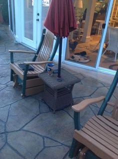 Hampton Bay Spring Haven Brown All-Weather Wicker Patio Umbrella Side Table  at The Home Depot