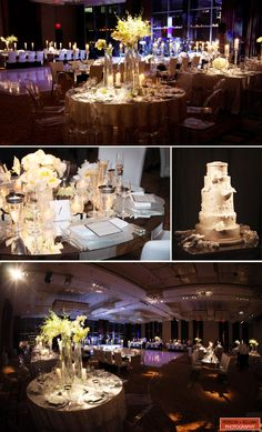 white/mirrored centerpieces and table settings